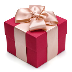 Red gift box with golden ribbon.