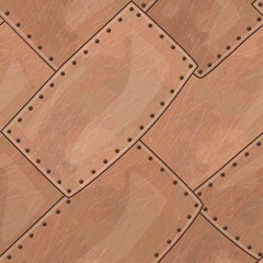 Copper seamless texture with rounded corners and rivets