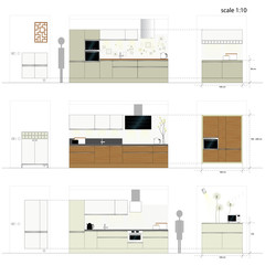 Kitchen furniture. Interior furniture. Vector illustration scale
