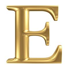 Golden matt letter E, jewellery font collection
