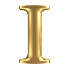 Golden matt letter I, jewellery font collection