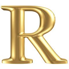 Golden matt letter R, jewellery font collection