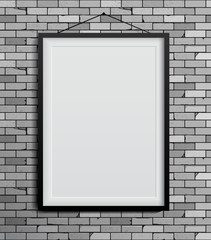 Black frames on a red brick wall. Vector Illustration