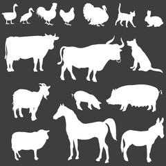 vector white silhouettes of farm animals