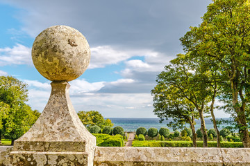 garden stone sculpture at Dunrobin Castle, Scotland