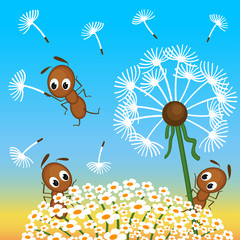 ants and dandelion -  vector illustration