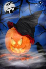 Foto op Aluminium Volle maan pumpkin lantern for halloween