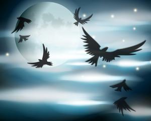 Halloween illustration with dramatic full Moon