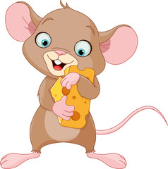 Mouse holding a piece of cheese