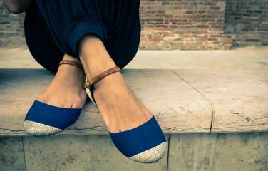 woman feet crossed
