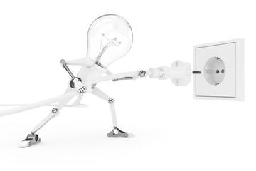 Robot lamp pokes the power plug in socket