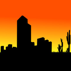 famous buildings with cactus vector illustration