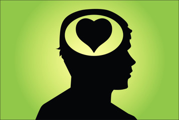 heart in man's head. love concept vector on green background