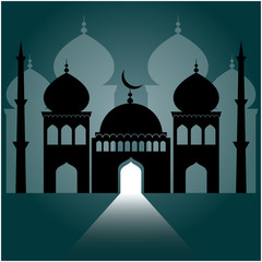 mosque on dark blue background with light ray from the door.