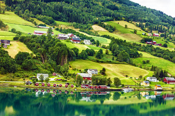 Foto op Aluminium Scandinavië Country summer landscape, Olden, Norway