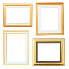 Gold and wood frame Collection on white background