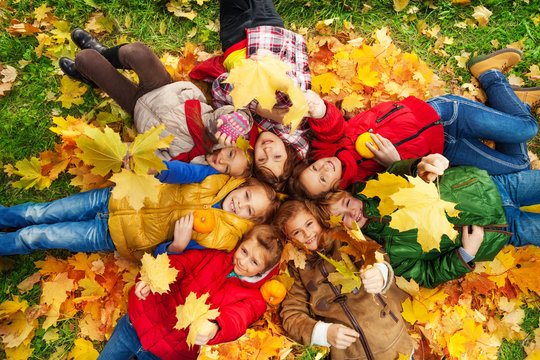 Many friends lay on autumn ground