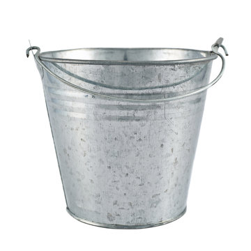 Metal zinc bucket isolated