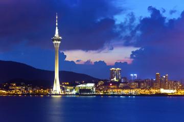 Modern downtown in Macau at night