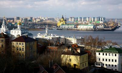 Colorful sunny autumn october view of Nizhny Novgorod