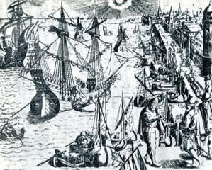 Lisbon harbor (ca. 1592; Theodor de Bry )