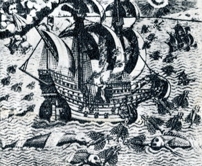 Medieval ship and flying fish (1594)
