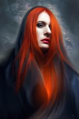 gothic woman in dark hood.