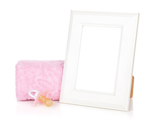 Photo frame with bath towel and girl dummy