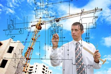 Engineering construction designing.Engineer designer