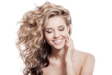 Wall Mural - Beautiful Smiling Woman. Healthy Long Curly Hair