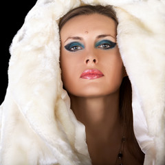 Woman in fur fashion glamour style photography