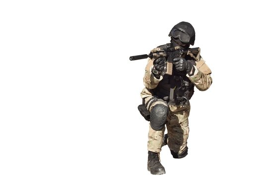 Special Forces soldier, police swat, isolated on white
