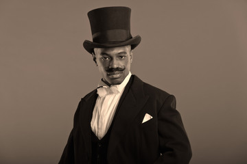 Retro afro american dickens scrooge man with mustache. Wearing b