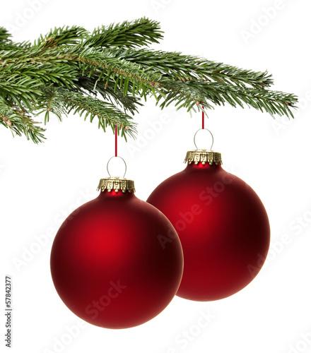 Rote weihnachtskugel mit zweig stockfotos und lizenzfreie bilder auf bild 57842377 - Bilder weihnachtskugeln ...