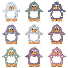 scrapbook penguins on white background