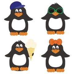 four nice penguins on white background