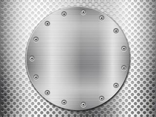 grey metal grid and circle plate