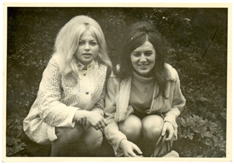 Girlfriends in the park - circa 1965