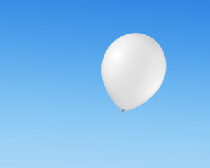 Wall Mural - White balloon flying in the sky