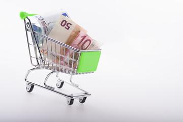 Carrito de la compra con dinero