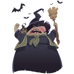 Cartoon scary witch with broom and owl