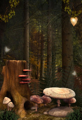 Fototapete - Enchanted nature series - Enchanted mushrooms place