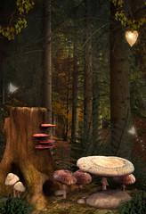 Wall Mural - Enchanted nature series - Enchanted mushrooms place