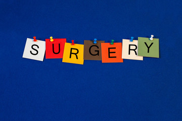Poster Positive Typography Surgery - sign for medical fitness and health care