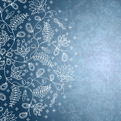 winter background with snowflake flower