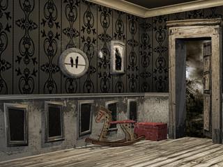 Stary korytarz z drewnianym koniem bujanym