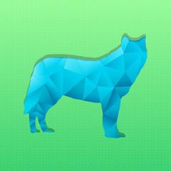 Canvas Prints Geometric animals Abstract triangular stamp blue wolf