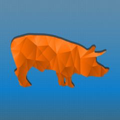 Canvas Prints Geometric animals Abstract triangular stamp orange pig