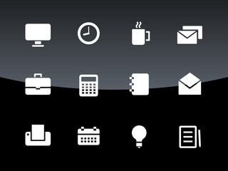 Business icons on black background.