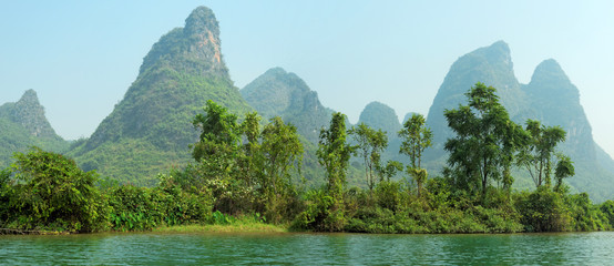 Limestone peaks in Yangshuo, Guilin, China